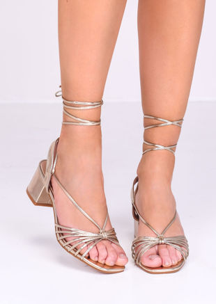 Faux Leather Lace Up Block Heel Sandals Gold