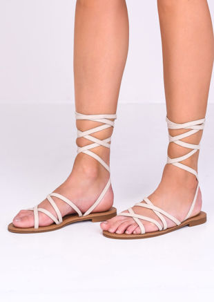 Faux Leather Lace Up Strappy Flat Sandals Beige