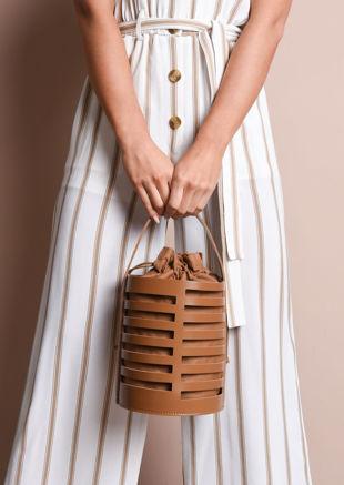 Faux Leather Mini Bucket Bag Tan Brown