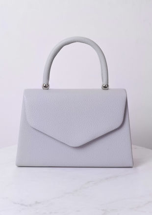 Faux Leather Mini Envelope Tote Bag Grey