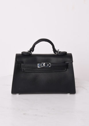 Faux Leather Mini Tote Bag Black