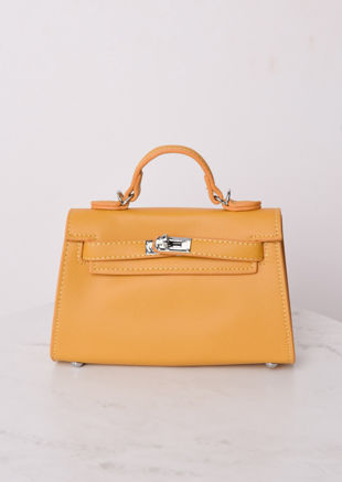 Faux Leather Mini Tote Bag Mustard Yellow