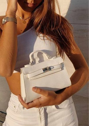 Faux Leather Mini Tote Bag White