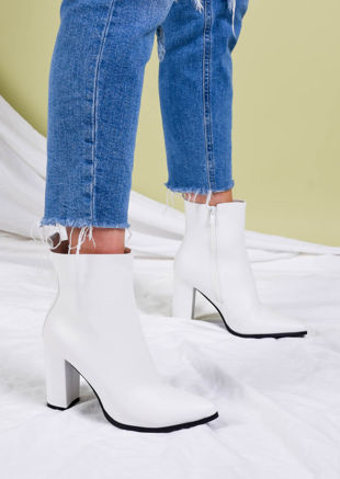 Faux Leather Pointed Toe Ankle Boots White