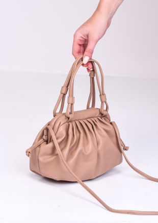 Faux Leather Pouch Shoulder Bag Beige