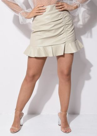 Faux Leather PU Ruched Frill Hem Mini Skirt Beige