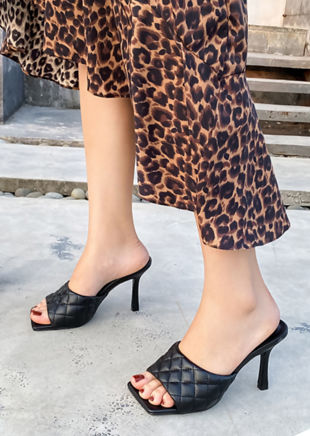 Square Toe Quilted Mule Heels Black