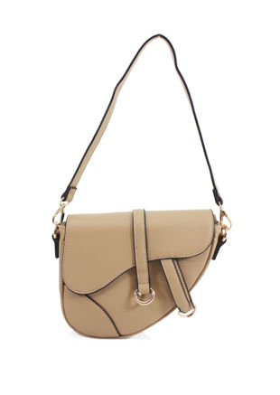 Faux Leather Saddle Shoulder Bag Beige