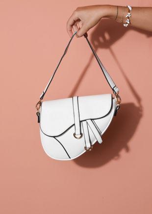 Faux Leather Saddle Shoulder Bag White