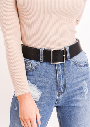 Faux Leather Square Buckle Belt Black