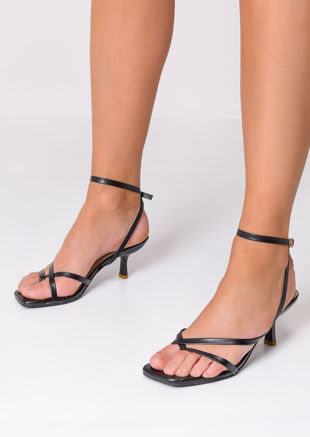 Faux Leather Square Toe Strappy Heel Sandals Black