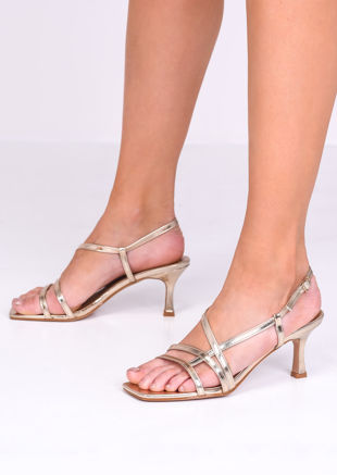 Faux Leather Strappy Kitten Heels Gold