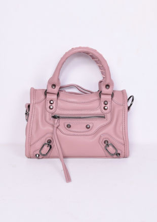Faux Leather Studded Detail Mini Tote Bag Pink
