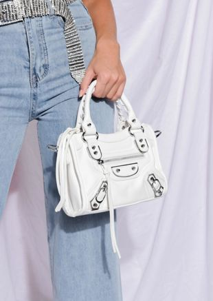 Faux Leather Studded Detail Mini Tote Bag White