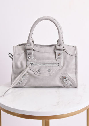 Faux Leather Studded Detail Tote Bag Grey