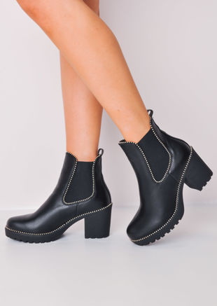 Faux Leather Studded Platform Chelsea Ankle Boots Black