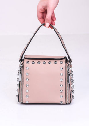 Faux Leather Zip Studded Box Tote Bag Beige
