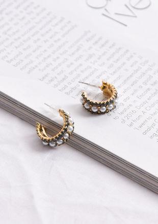 Faux Pearl Diamante Circle Small Hoop Earrings Gold