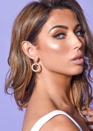 Faux Pearl Double Ring Drop Earrings Gold