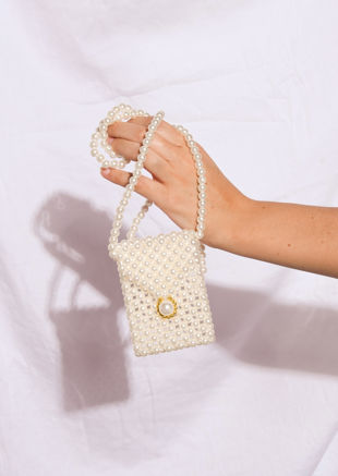 Faux Pearl Shoulder Micro Mini Envelope Bag White