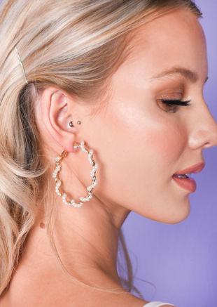Faux Pearl Twist Hoop Earrings Gold