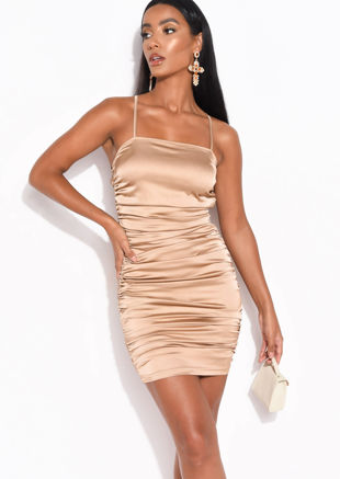 Faux Satin Slinky Ruched Mini Dress Mocha Brown