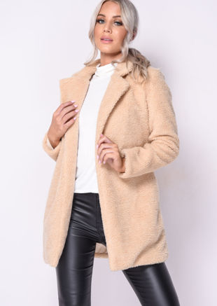 Faux Shearling Borg Teddy Coat Beige