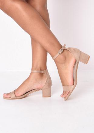 Faux Suede Block Heeled Sandals Beige