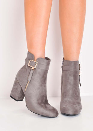Faux Suede Buckle Block Heel Ankle Boots Grey