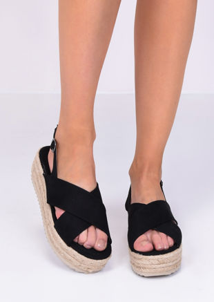 Faux Suede Cross Over Flatform Wedge Sandals Black
