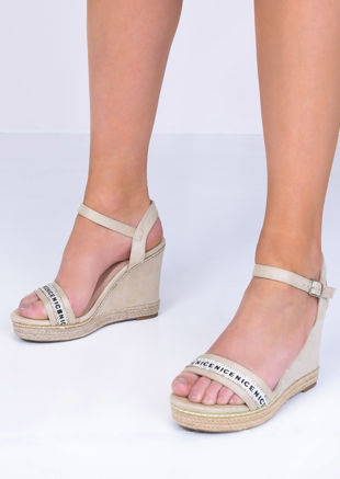 Faux Suede Diamante Wedge Sandals Beige