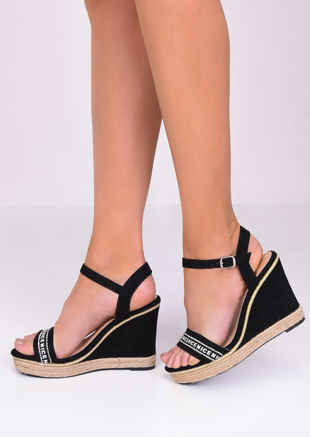 Faux Suede Diamante Wedge Sandals Black