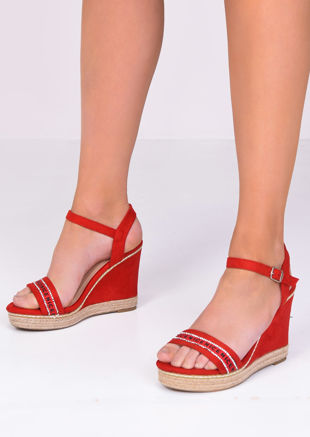 Faux Suede Diamante Wedge Sandals Red