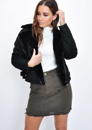 Faux Suede Faux Fur Lined Crop Biker Jacket Black