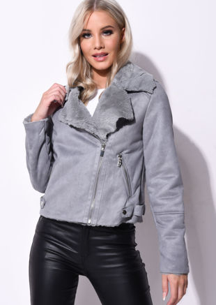 Suede Look Faux Fur Lined Crop Biker Jacket Grey
