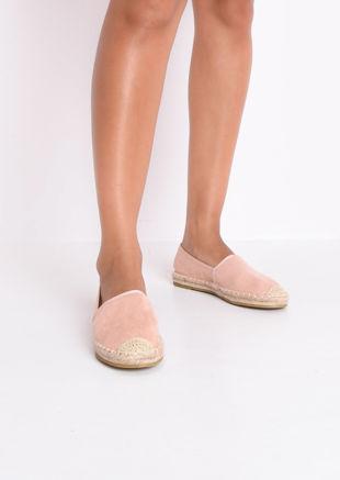Faux Suede Flat Espadrilles Pink