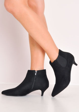 Faux Suede Kitten Low Heel Pointed Chelsea Ankle Boots Black