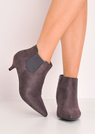 Faux Suede Kitten Low Heel Pointed Chelsea Ankle Boots Grey