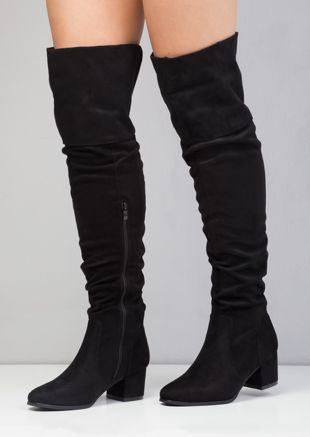 Ruched faux suede over the knee block heel boots black