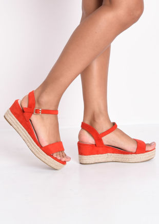 Faux Suede Platform Braided Cork Wedge Espadrille Sandals Red