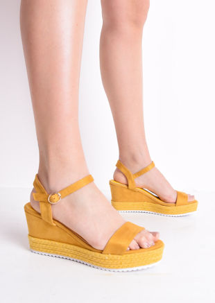 Faux Suede Platform Braided Cork Wedge Espadrille Sandals Mustard Yellow