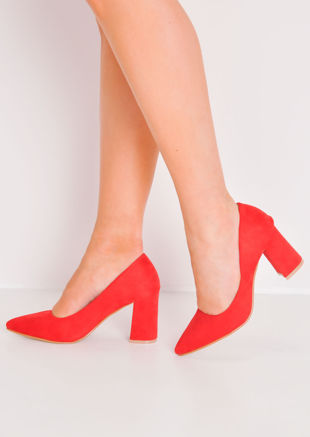 Faux Suede Pointed Court Heels Red