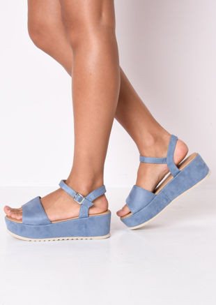Faux Suede Strap Flatform Wedge Sandals Blue