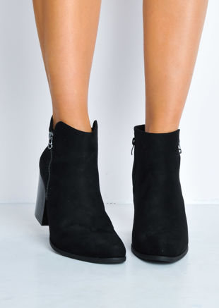 Faux Suede Wooden Block Heel Ankle Boots Black