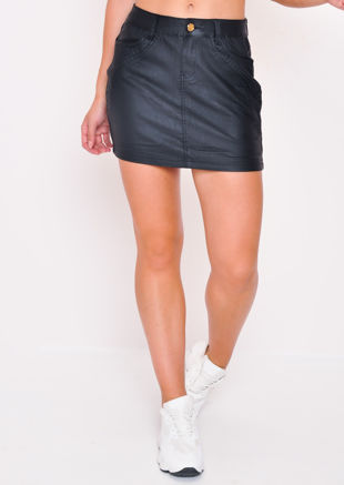 Faux Leather Biker Mini Skirt Black
