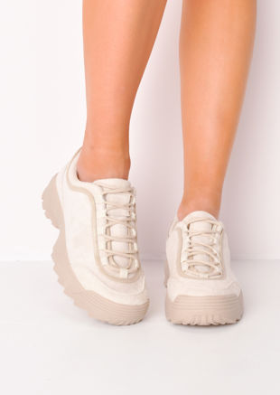 Flatform Faux Suede Chunky Trainers Beige