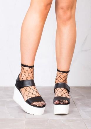 Flatform Wedge Sandals Black