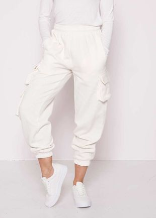 High Waisted Fleeced Utility Cargo Jogger Pants White