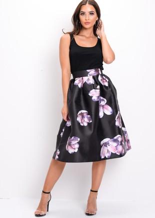 Floral Circle Midi Skirt Black