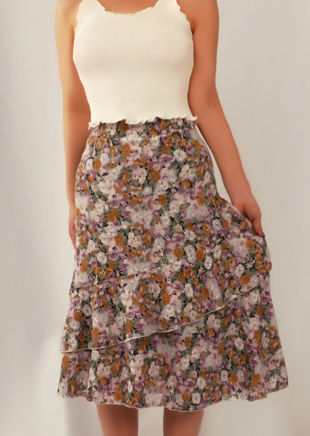 Floral High Waisted Asymmetric Frill Midi Skirt Purple